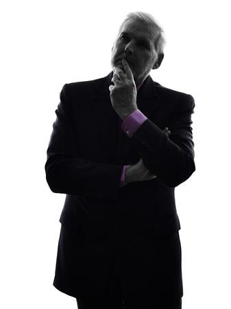 One Caucasian Senior Business Man thinking Silhouette White Background photo