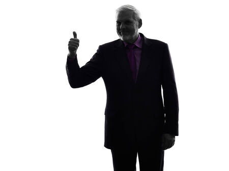 senior business man: One Caucasian Senior Business Man Thumb Up Silhouette White Background Stock Photo