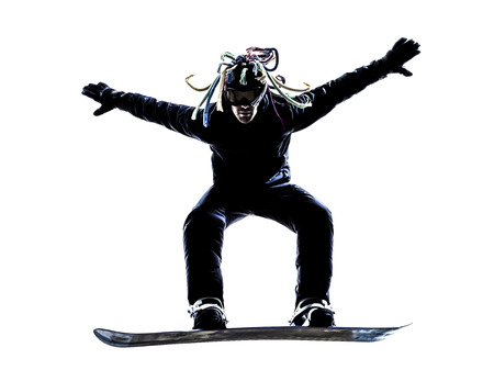 one caucasian young snowboarder  man in silhouette white background photo