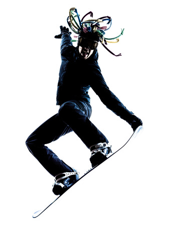 one caucasian young snowboarder  man in silhouette white background