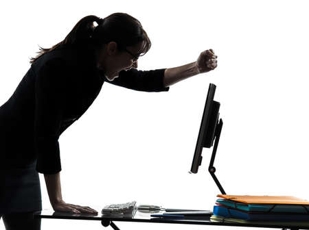 one business woman computer failure breakdown  silhouette studio isolated on white background photo