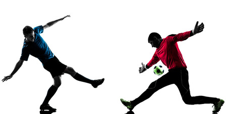 adversary: two caucasian soccer player goalkeeper men face to face competition in silhouette isolated white background