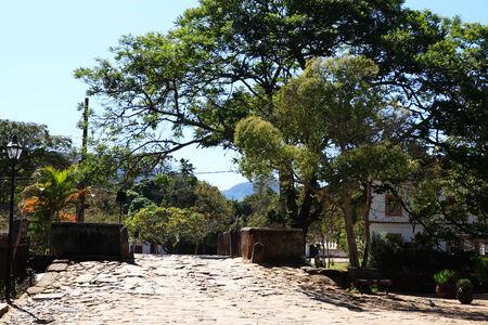 streetscene: streetscene of the typical village of tiradente in minas gerais state in brazil Stock Photo
