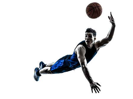 a basketball player: one caucasian man basketball player jumping throwing in silhouette isolated white background