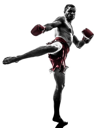 one caucasian man exercising thai boxing in silhouette studio on white background Фото со стока