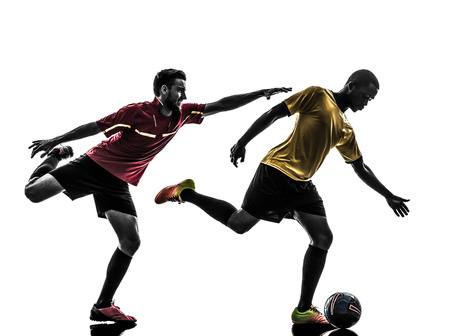 duel: two men soccer player playing football competition in silhouette on white background