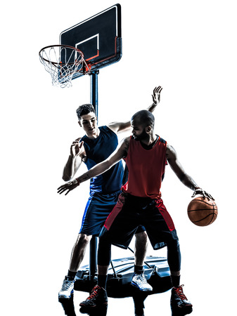 two men basketball players competition dribbling in silhouette isolated white background photo