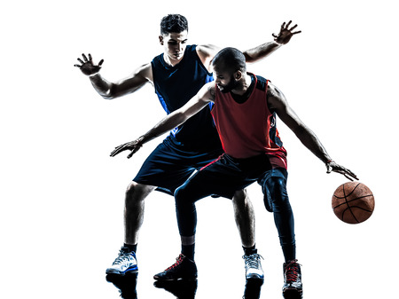 basketball: two men basketball players competition in silhouette isolated white background