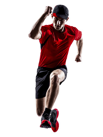 athleticism: one young man runners joggers running jogging jumping in silhouettes isolated on white background Stock Photo