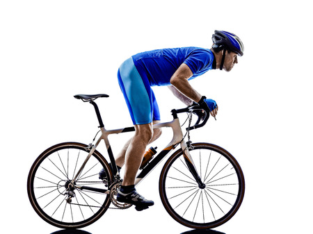 cicla: una bicicleta de carretera ciclista en siluetas en el fondo blanco Foto de archivo