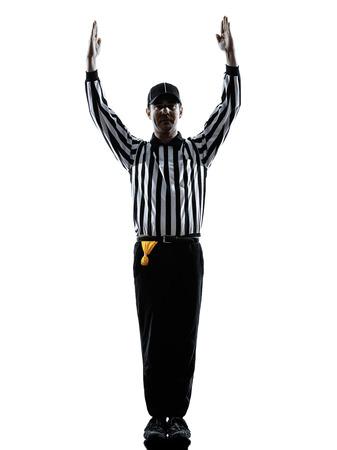 arbitros: gestos árbitro de fútbol americano de touchdown en siluetas sobre fondo blanco