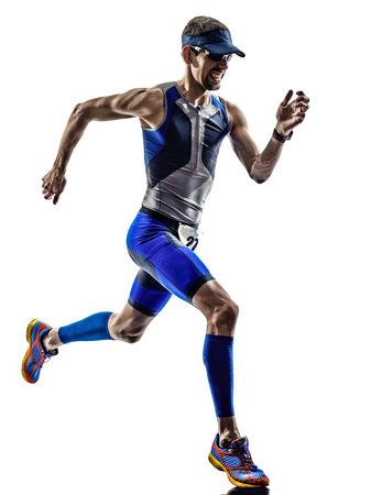 triathlon: man triathlon iron man athlete runners running in silhouettes on white background Stock Photo
