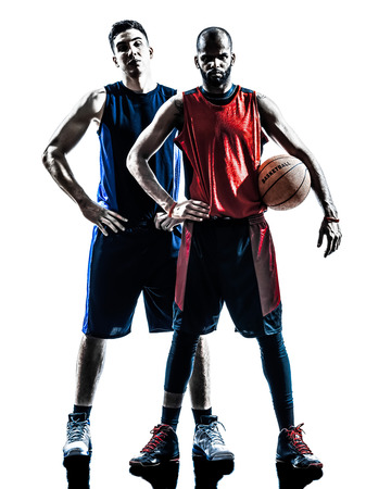 two men basketball players holding ball in silhouette isolated white  photo