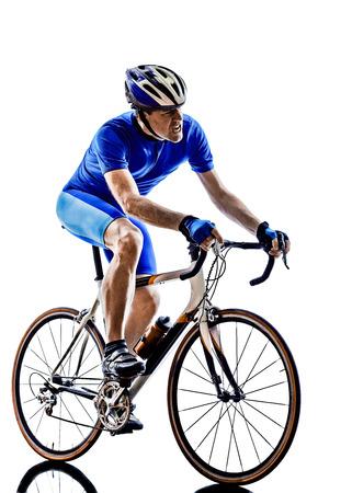 silueta ciclista: una bicicleta de carretera ciclista en siluetas en blanco