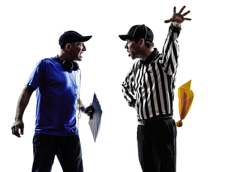 american football referee and coach conflict dispute conflict dispute in silhouettes on white
