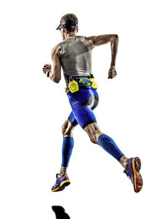 man triathlon iron man athlete runners running in silhouettes on white  photo