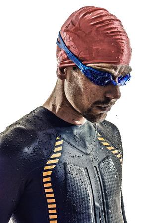 endurance: man triathlon iron man athlete swimmers portrait in silhouettes on white