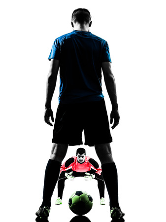 goalkeeper: two  soccer player goalkeeper men face to face competition in silhouette isolated white background