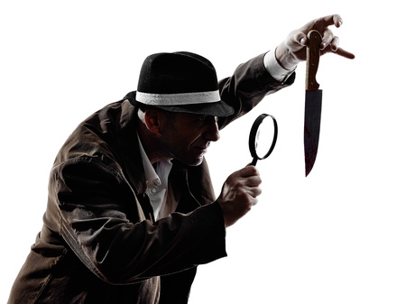 mystery man: one detective man criminals investigations  investigating crime in silhouettes on white