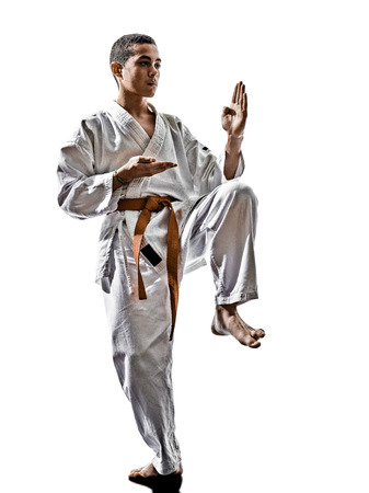 kata: one karate kata training  teenagers kid  isolated on white