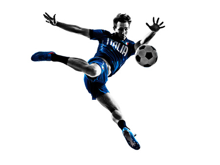 one italian soccer players man playing football jumping in silhouettes white background photo
