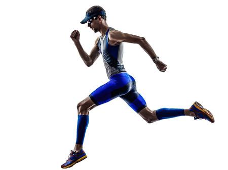 Mann Triathlon Eisenmann Athlet Läufer läuft in Silhouetten auf weißem Hintergrund Standard-Bild
