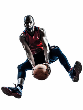 one african man basketball player jumping in silhouette isolated white background photo