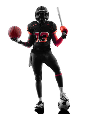 one american football player holding basket base ball bat in silhouette shadow on white background photo
