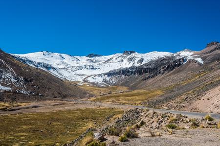 aguada: road in Aguada Blanca in the peruvian Andes at Arequipa Peru