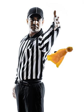 白の背景にシルエットでアメリカン フットボールの審判のジェスチャー 写真素材