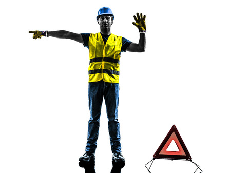 deviation: accident detour deviation man  silhouette isolated in white background Stock Photo