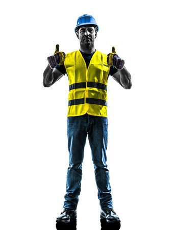 security vest: one  construction worker signaling up silhouette isolated in white background Stock Photo