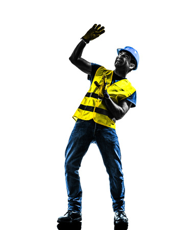safety vest: one  construction worker danger risk with safety vest silhouette isolated in white background