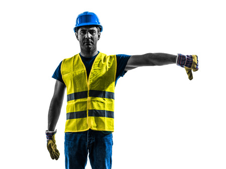one  construction worker signaling with safety vest lower boom silhouette isolated in white background photo