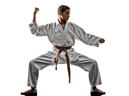 karate boy: one karate kata training  teenagers kid  isolated on white background Stock Photo