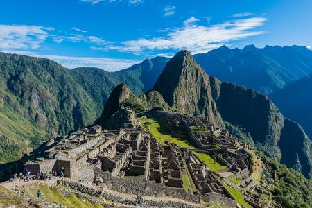 machu picchu: Machu Picchu, Incas ruins in the peruvian Andes at Cuzco Peru Stock Photo