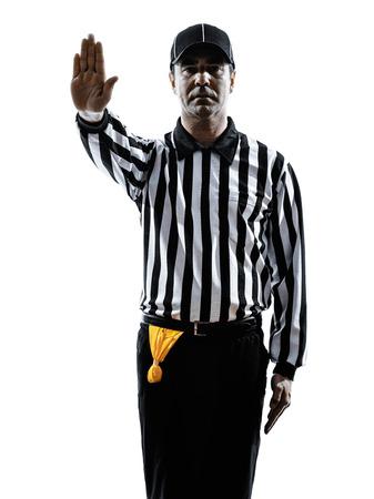 arbitros: Árbitro del fútbol americano gestos en silueta sobre fondo blanco