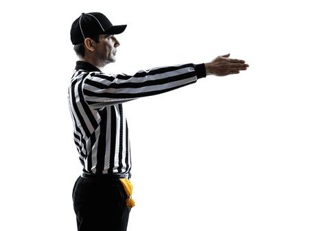 american football scheidsrechter gebaren eerst neer in silhouet op een witte achtergrond