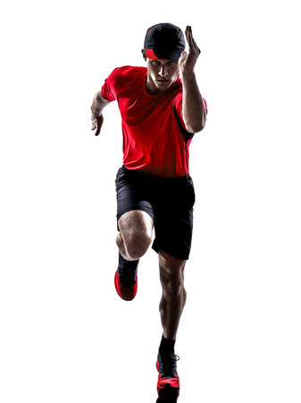 sprinting: one young man runner jogger running jogging in silhouette isolated on white background