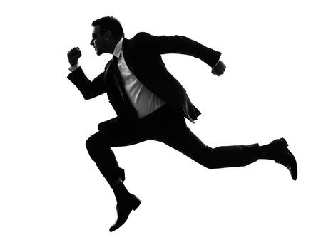 spy: one caucasian man running secret service in silhouette on white