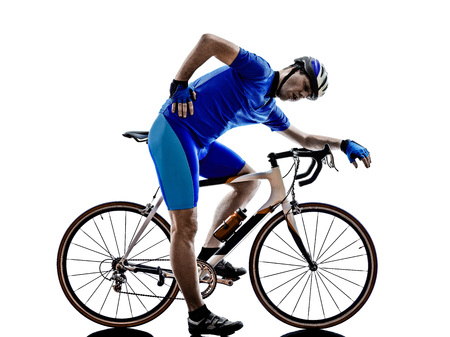 cyclist tired in silhouette on white  Stock Photo