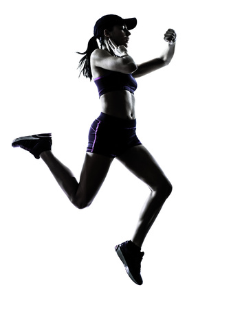 one woman: one  woman runner jogger in silhouette studio isolated on white