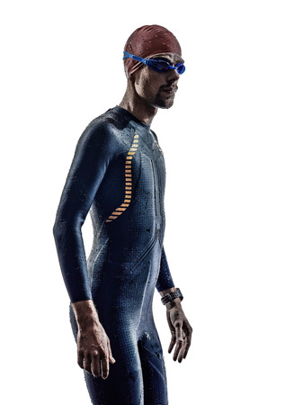 man triathlon iron man athlete swimmers portrait in silhouette on white background photo