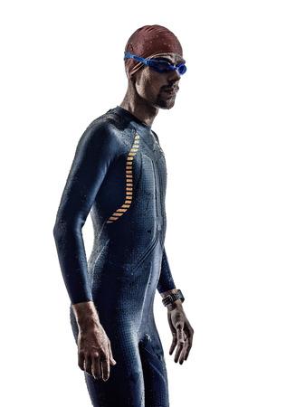 man triathlon iron man athlete swimmers portrait in silhouette on white background Stock Photo - 28837245