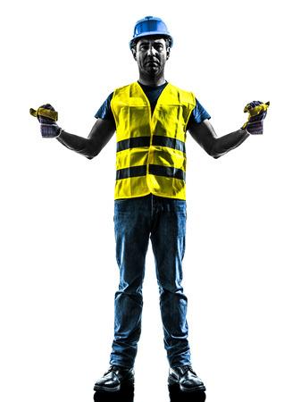porgere: un operaio edile di segnalazione con la maglia della sicurezza estendere boom di silhouette isolato in sfondo bianco Archivio Fotografico