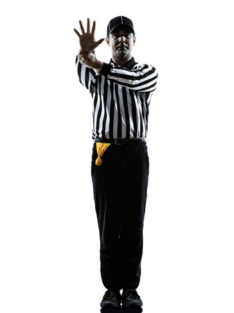 penalty: american football referee gestures in silhouette on white background