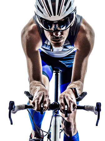 triathlon: man triathlon iron man athlete biker cyclist bicycling biking in silhouette on white background