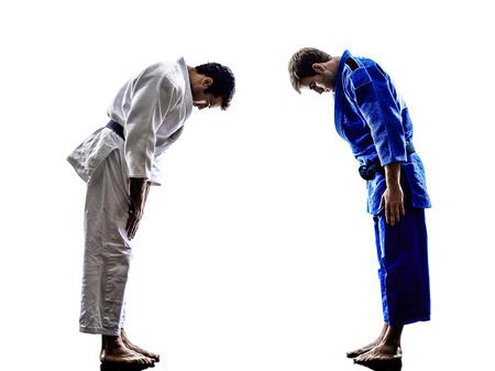judo: dos judokas combatientes que luchan los hombres en la silueta en el fondo blanco Foto de archivo