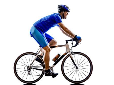 ciclos: una bicicleta de carretera ciclista en silueta sobre fondo blanco