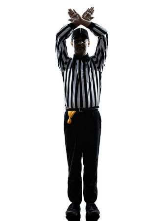 time out: american football referee gestures time out in silhouette on white background Stock Photo